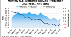 EIA Says U.S. Dry NatGas Production Down in November