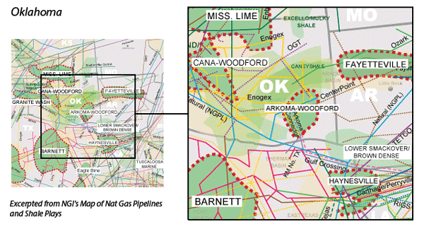 Arkoma-Woodford Shale map