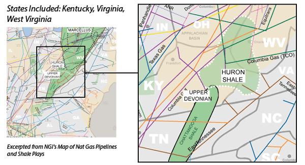Upper Devonian/Huron Shales map