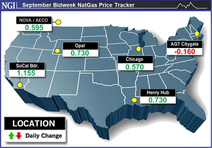September natural gas bidweek prices